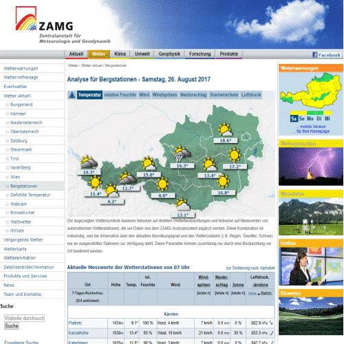 Bergstationen Österreich Windwerte - Wetter