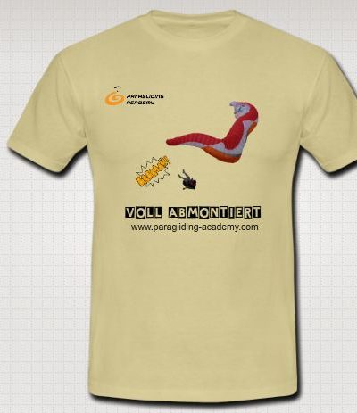 """Voll abmontiert T Shirt 400x463 - Gleitschirm T-Shirt """"Voll abmontiert"""""""