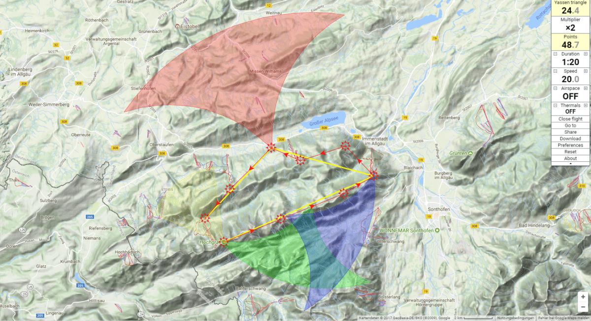 25kmFAI Hochgrat - Eine Streckenflug Route im Skytraxx 3.0 planen/aktivieren