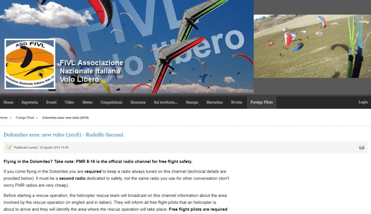 Dolomiten PMR Hoerbereitschaft - PMR Funk Pflicht beim Fliegen in den Dolomiten