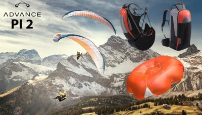 HIKE&FLY SET 2 - LEICHTSCHIRM PI2 + GURTZEUG EASINESS3+ RETTUNG ADVANCE SQR LIGHT